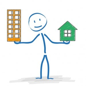Stickman with with house and apartmenthouse on the white. Eps 10 vector file.